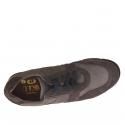 Chaussure sportif à lacets pour hommes en daim et nubuck gris et taupe - Pointures disponibles:  37, 47