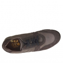 Men's casual shoe with laces in grey and taupe suede and nubuck leather - Available sizes:  37, 47