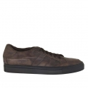 Sport laced shoe in dark brown vintage leather laced shoe in dark brown vintage leather