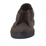 Sport laced shoe in dark brown vintage leather laced shoe in dark brown vintage leather - Available sizes:  48, 50, 51