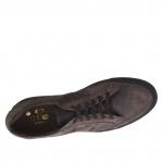 Chaussures fermées sportive avec lacets élégants en cuir antique brun foncé - Pointures disponibles:  48, 50, 51