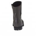 Bottines à bout pointu pour femmes avec fermeture éclair et élastique en cuir gris talon 2 - Pointures disponibles:  32
