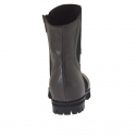 Woman's pointy ankle boot with zipper and elastic in grey leather heel 2 - Available sizes:  32