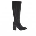 Femme bottes avec fermeture éclair et élastiques en cuir noir et cuir avec crocodile impression noir et talon 7