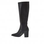 Femme bottes avec fermeture éclair et élastiques en cuir noir et cuir avec crocodile impression noir et talon 7 - Pointures disponibles:  32, 42