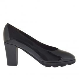Decoltè da donna in vernice nera tacco 7 - Misure disponibili: 34