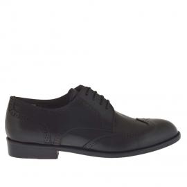 Scarpa da uomo stringata elegante con decorazioni in pelle nera - Misure disponibili: 36, 48, 51