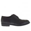Chaussure derby élégant décorée pour hommes avec lacets en cuir noir
