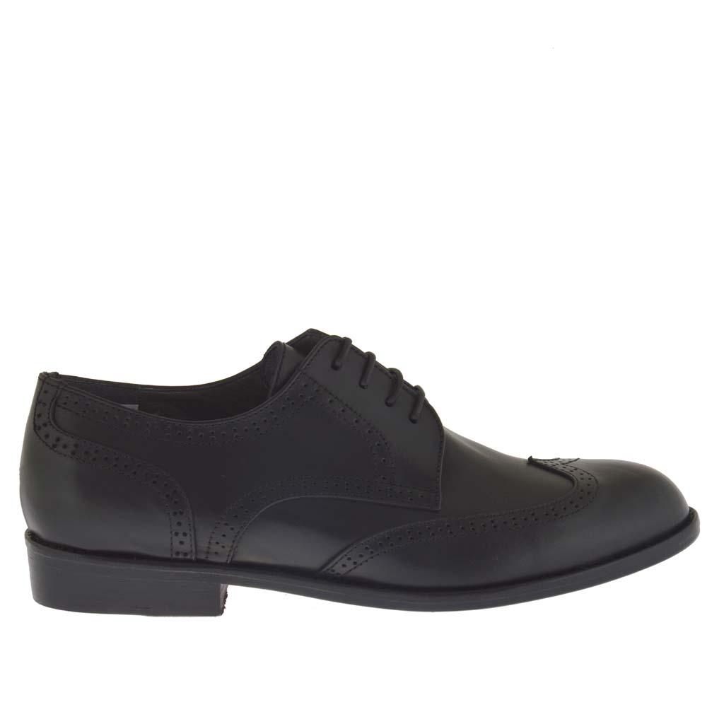 el gant chaussure d cor e pour hommes avec lacets en cuir noir ghigocalzature. Black Bedroom Furniture Sets. Home Design Ideas