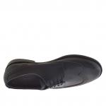 Chaussure derby élégant décorée pour hommes avec lacets en cuir noir - Pointures disponibles:  51
