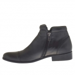Men's elegant ankle boot with 2 zippers in black leather