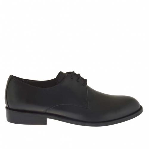 Chaussure derby élégant pour hommes avec lacets en cuir noir - Pointures disponibles:  50