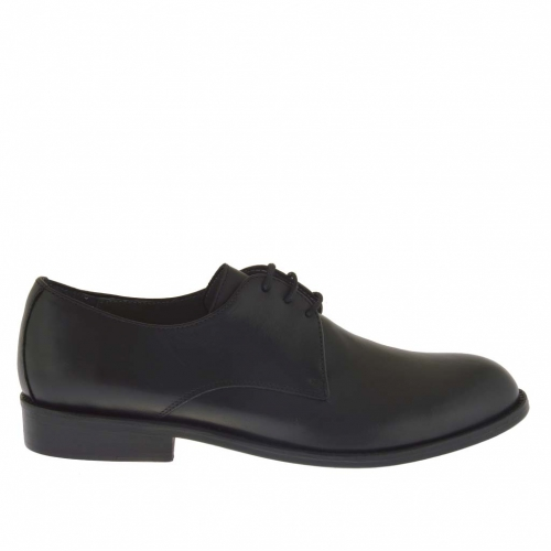 Men's elegant derby shoe with laces in black leather - Available sizes:  50, 51