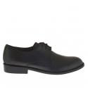 Chaussure derby élégant pour hommes avec lacets en cuir noir