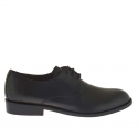 Men's elegant derby shoe with laces in black leather