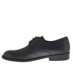 Men's elegant derby shoe with laces in black leather - Available sizes:  50