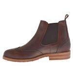 Bottines élégant pour hommes avec élastiques et bout Brogue en cuir marron - Pointures disponibles:  46