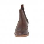 Homme élégant bottine avec 2 élastiques en cuir marron - Pointures disponibles:  46