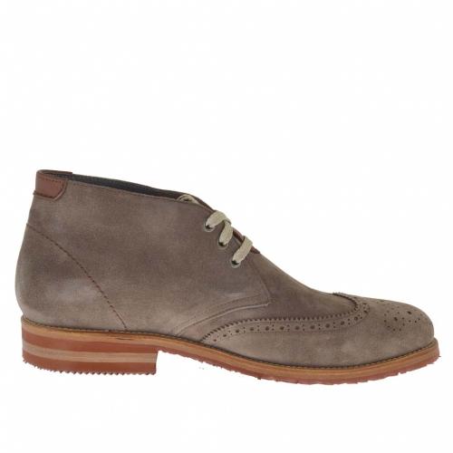 sportif talon haut chaussure pour hommes avec lacets en daim gris tourterelle ghigocalzature. Black Bedroom Furniture Sets. Home Design Ideas