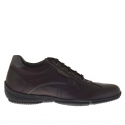 Men's sportive laced ankle shoe in maroon leather