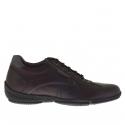 Sportif talon haut chaussure pour hommes avec lacets en cuir bordeaux