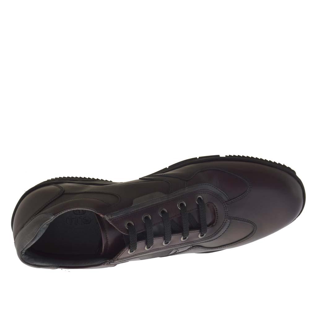 sportif talon haut chaussure pour hommes avec lacets en cuir bordeaux ghigocalzature. Black Bedroom Furniture Sets. Home Design Ideas