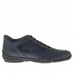 Men's casual laced shoe in blue suede and leather - Available sizes:  46