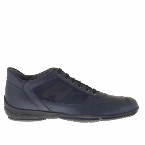 Scarpa da uomo stringata sportiva in camoscio e pelle blu - Misure disponibili: 46