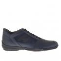 Homme sporif chaussure avec lacets en daim et cuir bleu