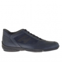 Men's casual laced shoe in blue suede and leather