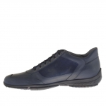 Homme sporif chaussure avec lacets en daim et cuir bleu  - Pointures disponibles:  46