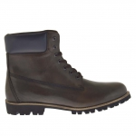 Men's sportive shoe boot with laces in army green leather