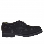 Men's laced shoe with Brogue decorations in black nubuck leather - Available sizes:  36
