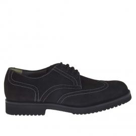 Zapato para hombre con cordones en nabuk de color negro - Tallas disponibles:  36, 47