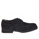 Hommes chaussure avec lacets en nabuk noir