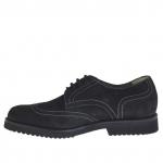 Hommes chaussure avec lacets en nabuk noir - Pointures disponibles:  36, 47