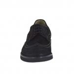 Men's laced shoe in black nubuck leather