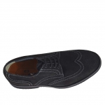 Men's laced shoe with Brogue decorations in black nubuck leather