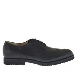 Scarpa da uomo elegante stringata in pelle colore nero - Misure disponibili: 36, 48, 49, 51