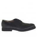 Chaussure élégant fermée avec lacets en cuir noir