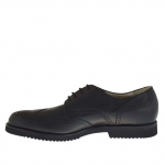 Elegant shoe with laces in black leather - Available sizes:  36, 48, 49, 51