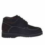 Men's laced shoe boot in black nabuck leather
