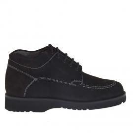 Zapato altro al tobillo con cordones para hombre en piel nubuk negra - Tallas disponibles:  36