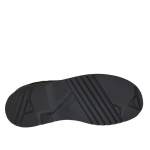 Men's casual laced ankle-high shoe in black nubuck leather
