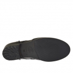 Bottines pour femmes avec fermeture éclair et lacets en cuir noir avec talon 3 - Pointures disponibles:  32