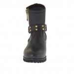 Femme bottines avec fermeture éclair, boucle et goujons en cuir noir talon 3 - Pointures disponibles:  32