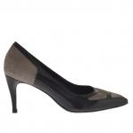 Escarpins pour femmes en cuir noir et daim taupe talon 7 - Pointures disponibles:  47