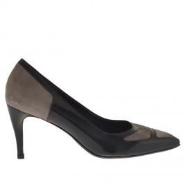 Scarpa da donna decoltè in pelle nera e camoscio taupe tacco 7 - Misure disponibili: 47