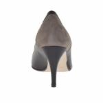 Woman's pump in black leather and taupe suede heel 7