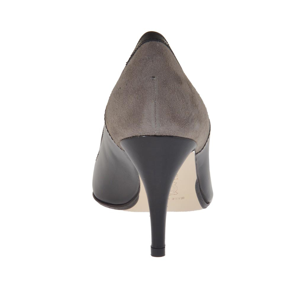 woman 39 s pump in black leather and taupe suede heel 7